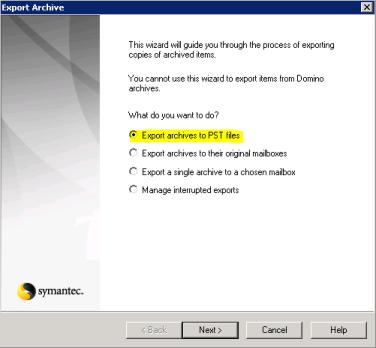 Migrating from Symantec Enterprise Vault to Exchange Archive